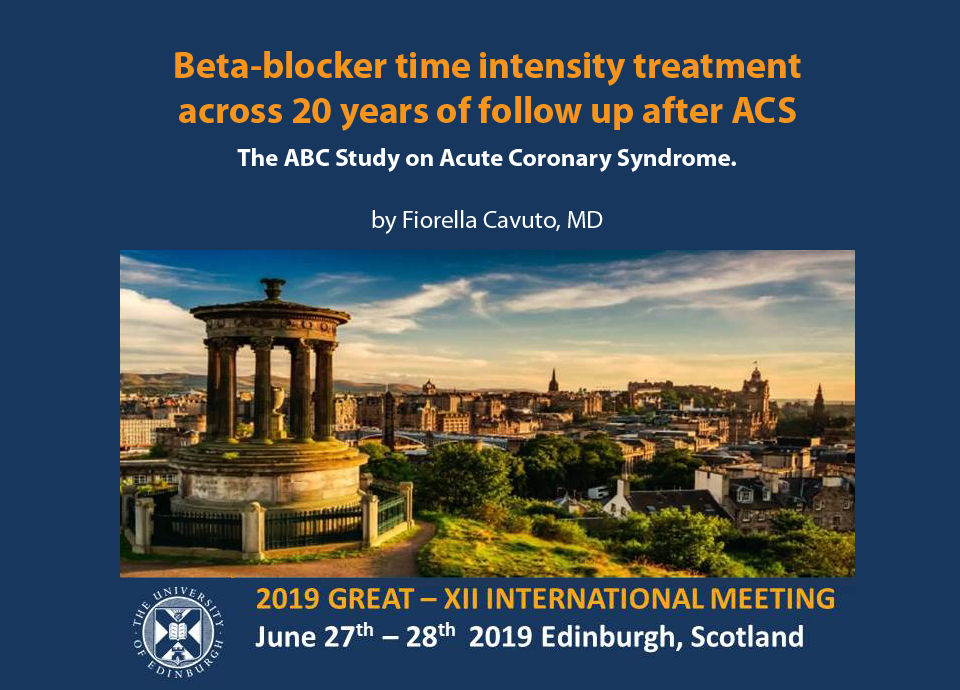GREAT 2019 BETA–BLOCKER TIME INTENSITY TREATMENT  ACROSS 20 YEARS OF FOLLOW UP AFTER ACS by Fiorella Cavuto, MD