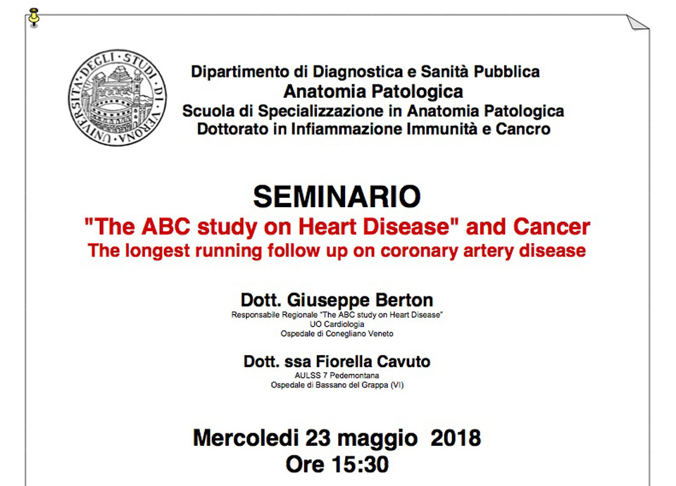"""The ABC study on Heart Disease"" and Cancer. The longest running follow up on coronary artery disease"